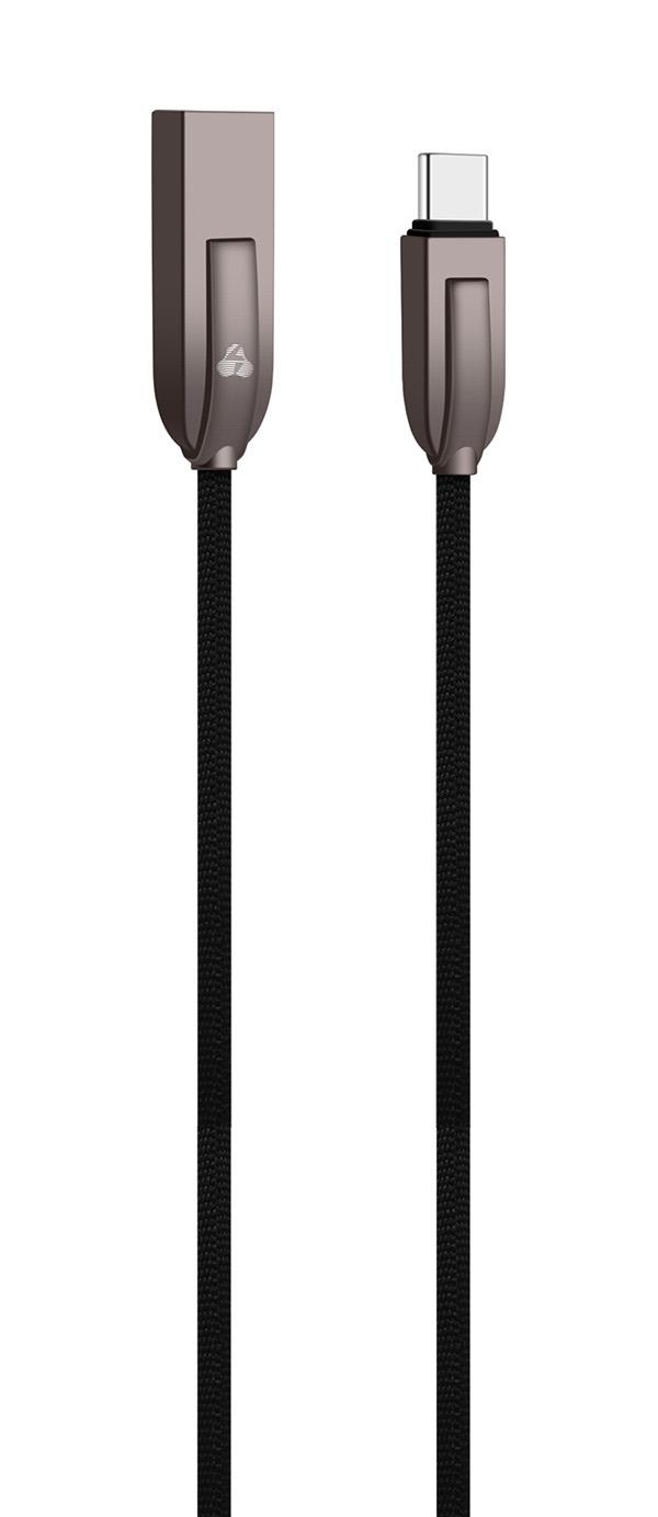 POWERTECH Καλώδιο USB σε Type C ele zinc PTR-0040 copper, 1m, μαύρο - POWERTECH 23103