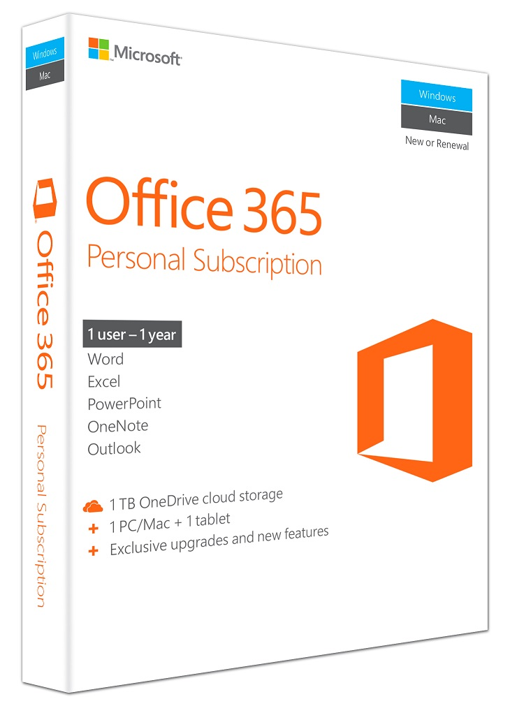 MICROSOFT Office 365 Personal, English, 1 έτος, Eurozone Medialess P2 - MICROSOFT 14121