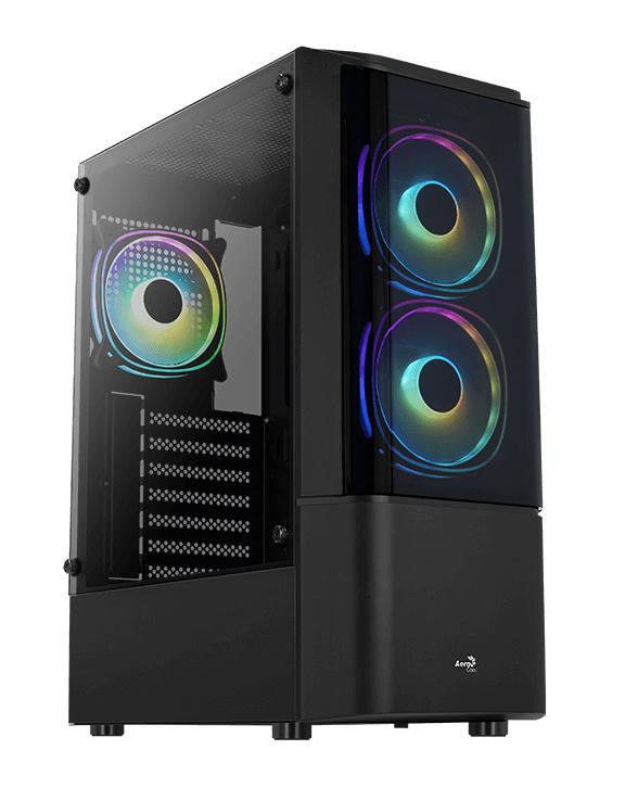 AEROCOOL PC case mid tower QUANTUM-G, 206x450x360mm, 3x FRGB fan, μαύρο - AEROCOOL 43095