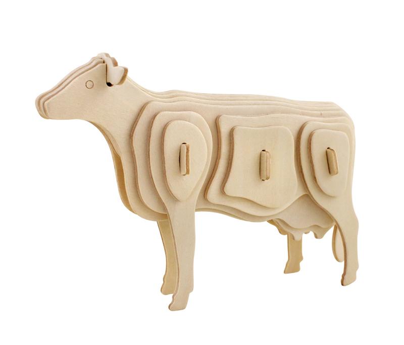 ROWOOD Ξύλινο 3D πάζλ αγελάδα JP251, 23τμχ - ROWOOD 19493