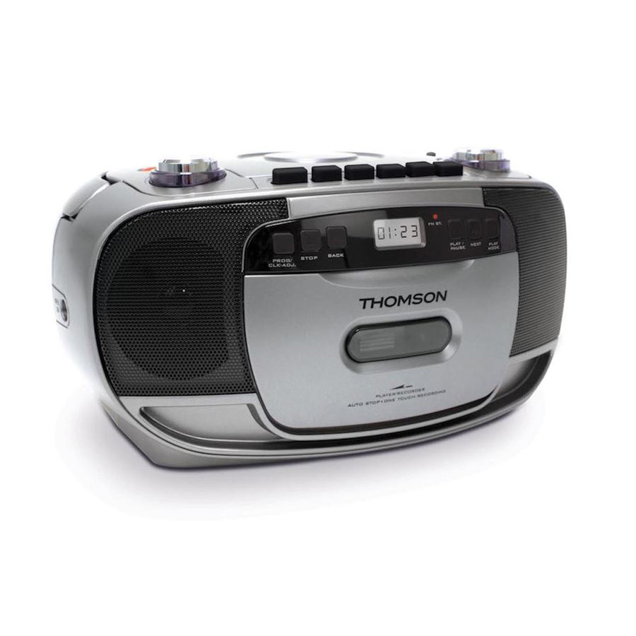 THOMSON Φορητό ηχοσύστημα RK203CD, FM/CD/Tape/REC, LCD, ασημί - THOMSON 22426