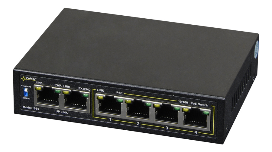 PULSAR PoE Ethernet Switch S64, 6x ports 10/100Mb/s - PULSAR 37903