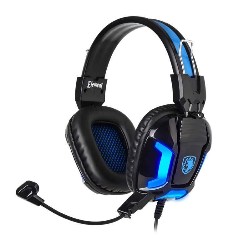 SADES Gaming Headset Element SA-702-BL, blue LED, 3.5mm, 40mm ακουστικά - SADES 26041