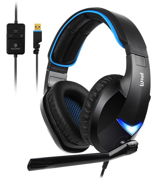 SADES Gaming Headset Wand SA-914-BL, 7.1CH, USB, 40mm ακουστικά - SADES 27928