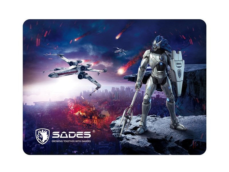 SADES Gaming Mouse Pad Lightning, Low Friction, Rubber base, 350 x 260mm - SADES 17708