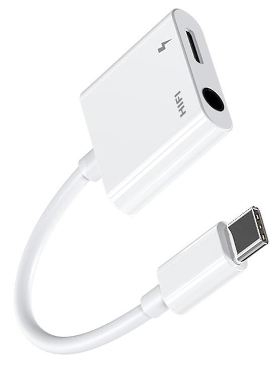 JOYROOM καλώδιο USB Type-C σε Type-C & 3.5mm SH-C1, 3A, 0.12m, λευκό - JOYROOM 38278