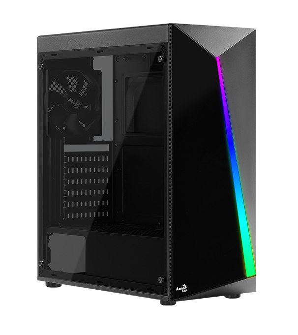 AEROCOOL PC case mid tower SHARD-G, 194x444x423.5mm, 4x RGB fan, μαύρο - AEROCOOL 43100