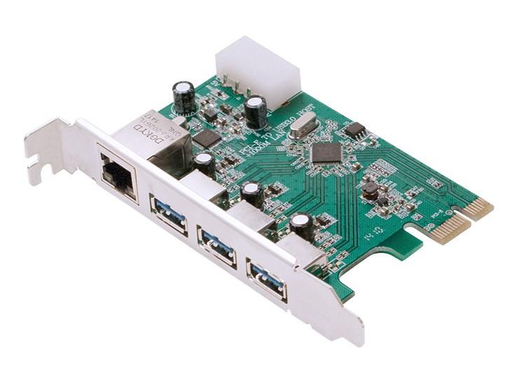POWERTECH Κάρτα Επέκτασης PCI-e σε USB 3.0 & 1x LAN, VL805+RTL8153 - POWERTECH 24668