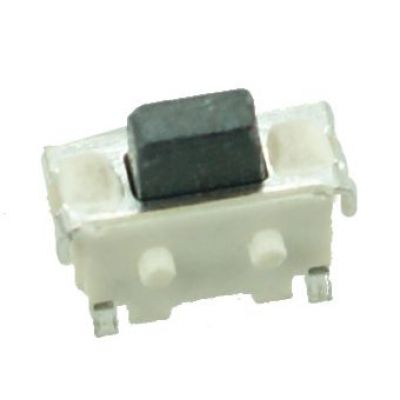 SMD Button - 2 PIN, Nickel, Silver/Black - UNBRANDED 10008
