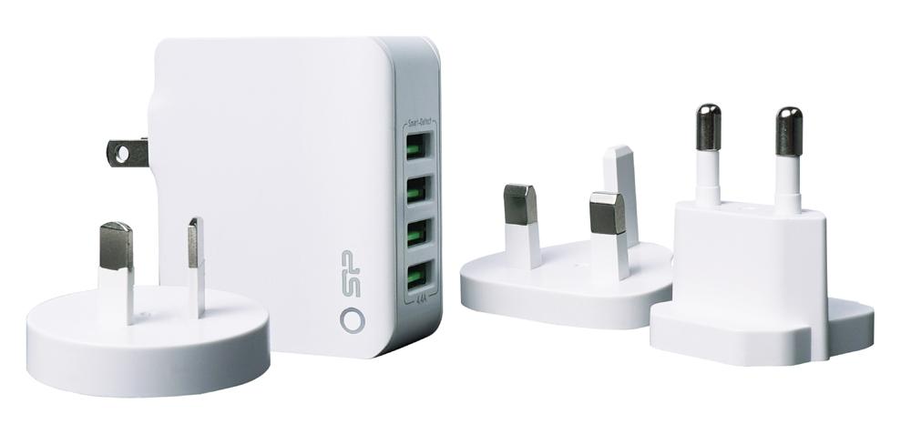 SILICON POWER φορτιστής τοίχου WC104P, 4x USB, UK/EU/AU/US, 4.4Α, λευκός - SILICON POWER 41467