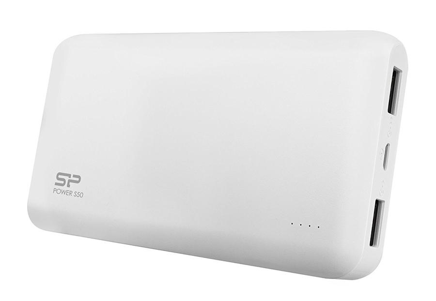 SILICON POWER Power Bank S50 5000mAh, 2x USB Output, White - SILICON POWER 16192