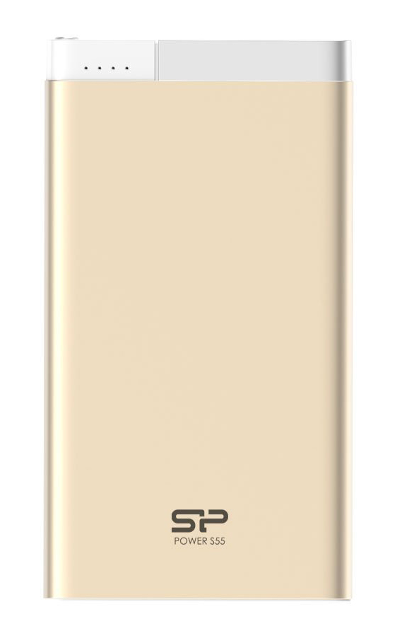 SILICON POWER Power Bank S55 5000mAh, USB, Micro/Lightning Input, Gold - SILICON POWER 16197