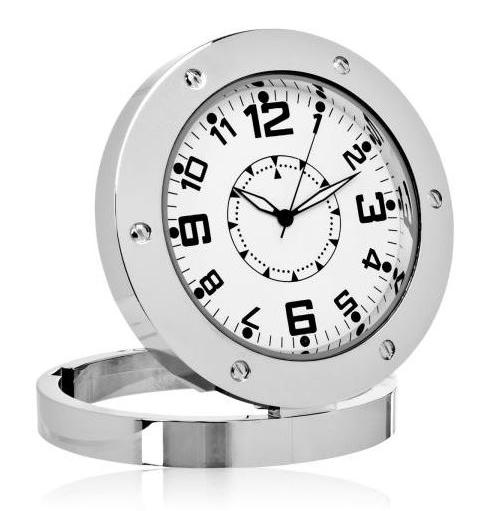Επιτραπέζιο ρολόι με κρυφή κάμερα και ανιχνευτή ήχου, Silver - UNBRANDED 14786