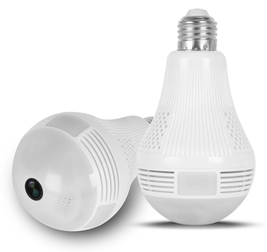 Λάμπα με ενσωματωμένη κάμερα SPY-012, HD 960p, Wi-Fi, 360°, λευκή - UNBRANDED 32954