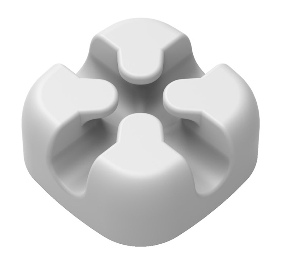 POWERTECH οργανωτής καλωδίων σιλικόνης TIES-029, 2 καλωδίων, λευκό, 5τμχ - POWERTECH 31807