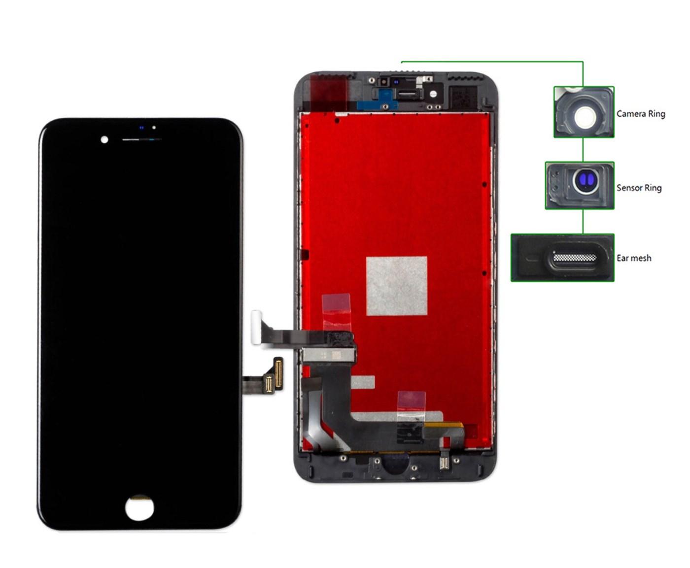 TIANMA High Copy LCD iPhone 8 Plus, Camera-Sensor ring, ear mesh, Black - TIANMA 21639
