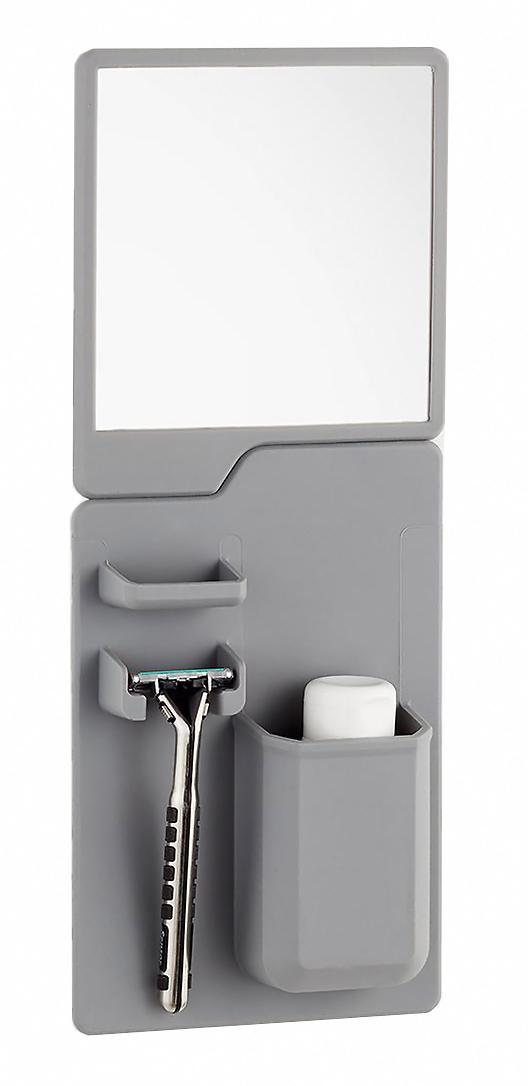 Σετ καθρέπτης και θήκη οδοντόβουρτσας από σιλικόνη TMV-0001, γκρι - UNBRANDED 26829