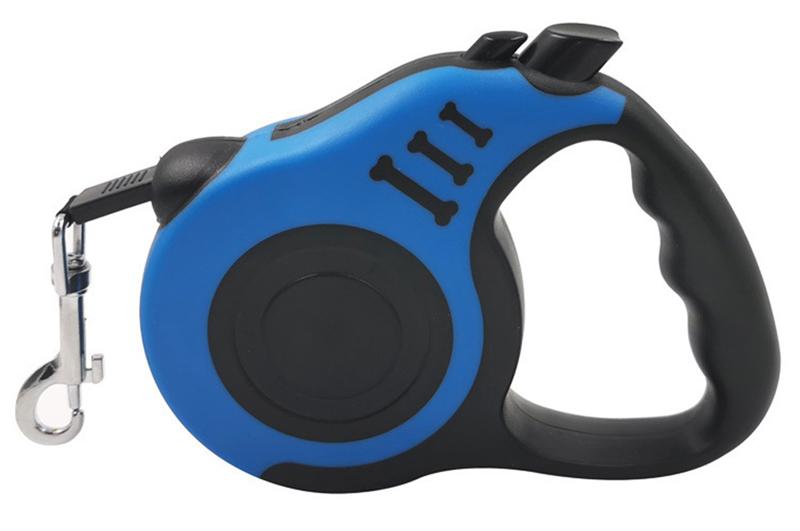 Λουράκι σκύλου TMV-0046, με ιμάντα & stop, 5m, μπλε - UNBRANDED 32895