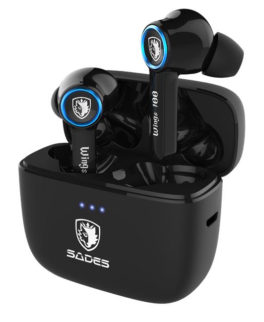 SADES gaming earphones Wings 100 με θήκη φόρτισης, True Wireless, μαύρα - SADES 42846