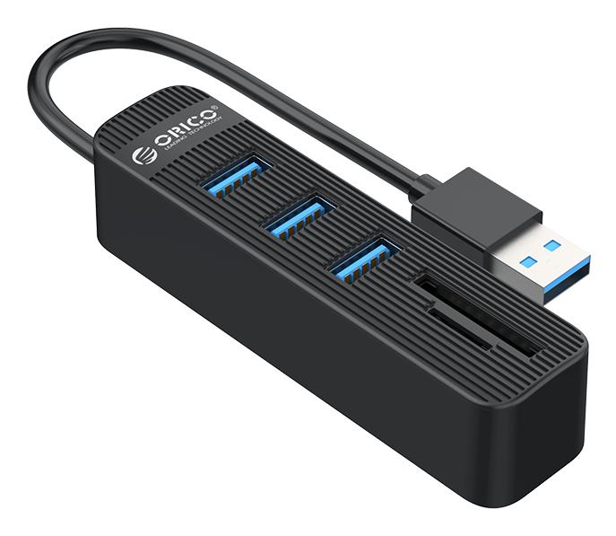 ORICO USB Hub TWU3-3AST, 1x SD, 1x TF, 3x USB ports, μαύρο - ORICO 37177