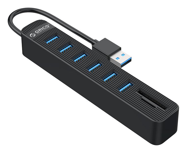 ORICO USB Hub TWU3-3AST, 1x SD, 1x TF, 6x USB ports, μαύρο - ORICO 37178