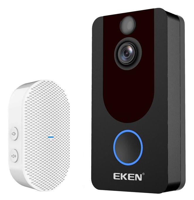 EKEN κουδούνι με κάμερα V7, WiFi, 1080p, PIR, cloud, μαύρο - EKEN 42003