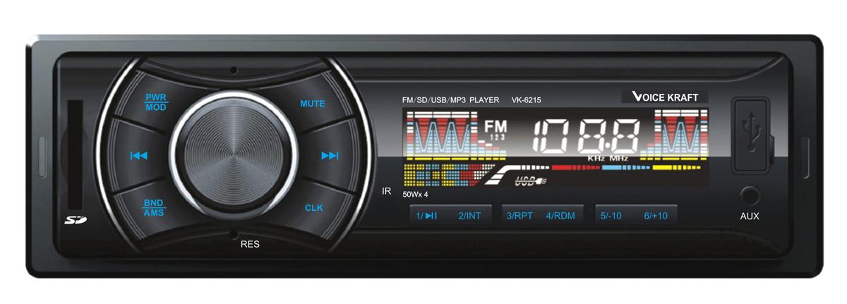 VOICE KRAFT car audio VK6215-BL, MP3-FM AUX/SD/USB, χειριστήριο, μπλε - VOICE KRAFT 26680