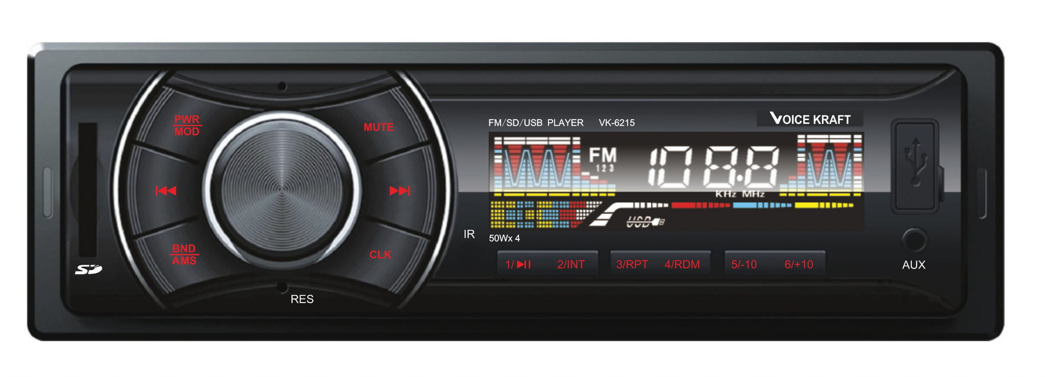 VOICE KRAFT car audio VK-6215-RD MP3-FM AUX/SD/USB, χειριστήριο, κόκκινο - VOICE KRAFT 26681