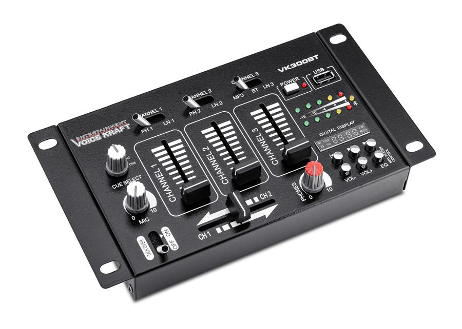 VOICE KRAFT μίκτης ήχου VK300-BT τριών καναλιών USB/Bluetooth/SD, μαύρος - VOICE KRAFT 26029