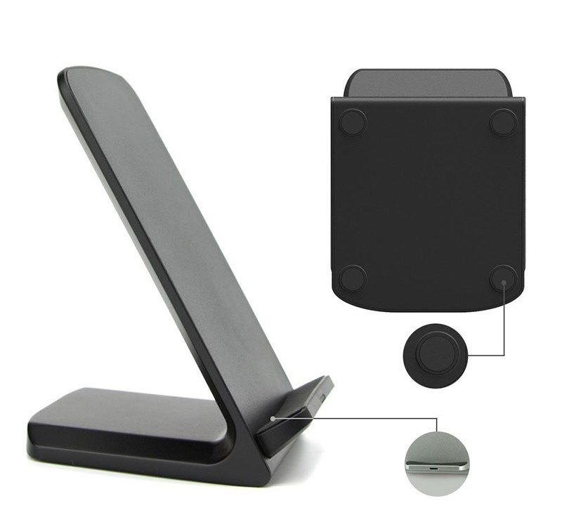 Wireless QI charger pad Q700 Dual Coil, LED, Black - UNBRANDED 17767