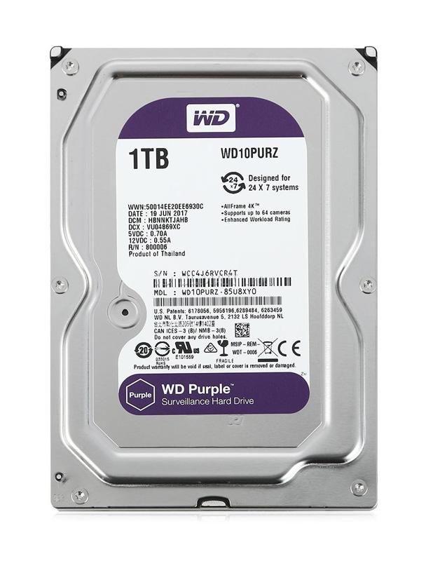 """WD Purple Surveillance Σκληρός Δίσκος 3.5"""" 1TB, 64MB, 5400RPM, SATA III - WD 18680"""