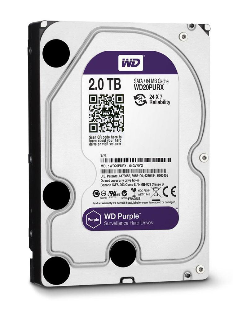 """WD Purple Surveillance Σκληρός Δίσκος 3,5"""" 2TB, 64MB, 5400RPM, SATA III - WD 13354"""