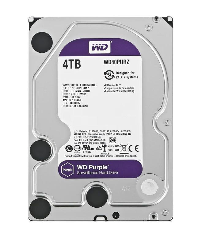 """WD Purple Surveillance Σκληρός Δίσκος 3.5"""" 4TB, 64MB, 5400RPM, SATA III - WD 18682"""