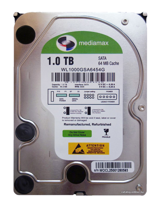 "MEDIAMAX Σκληρός Δίσκος 3.5"", 1TB, 64MB, 5400RPM, SATA II - MEDIAMAX 16513"