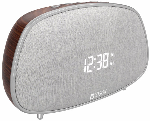 YISON ξυπνητήρι WS-1, bluetooth 5.0, 2x 5W, ένδειξη ώρας, AM/FM, ασημί - YISON 34553