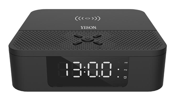 YISON Ξυπνητήρι WS-5, Βluetooth 5.0, ασύρματη φόρτιση, 2x 3W, LED, μαύρο - YISON 29295