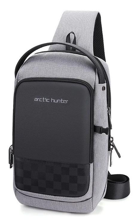 ARCTIC HUNTER Τσάντα Crossbody XB00105-GY, USB, αδιάβροχη, γκρι - ARCTIC HUNTER 27034