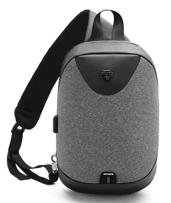 ARCTIC HUNTER τσάντα Crossbody XB0049-DG, αδιάβροχη, USB, σκούρο γκρι - ARCTIC HUNTER 24387