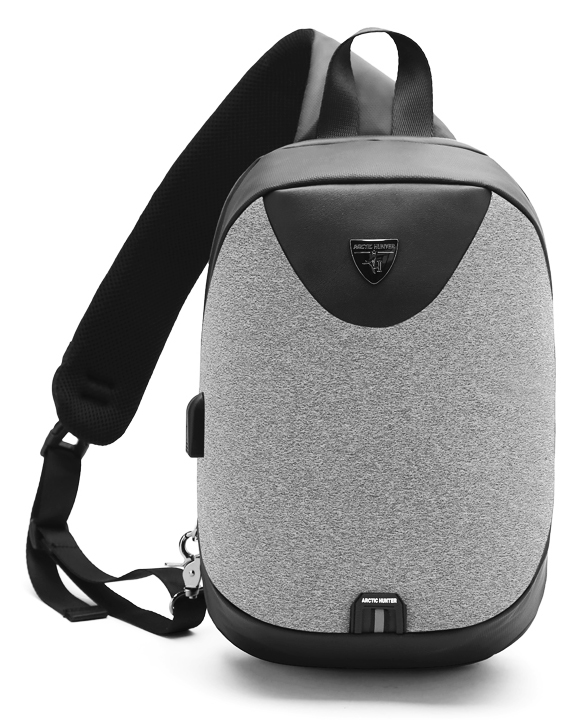 ARCTIC HUNTER τσάντα Crossbody XB0049-LG, tablet, αδιάβροχη, USB, γκρι - ARCTIC HUNTER 24388
