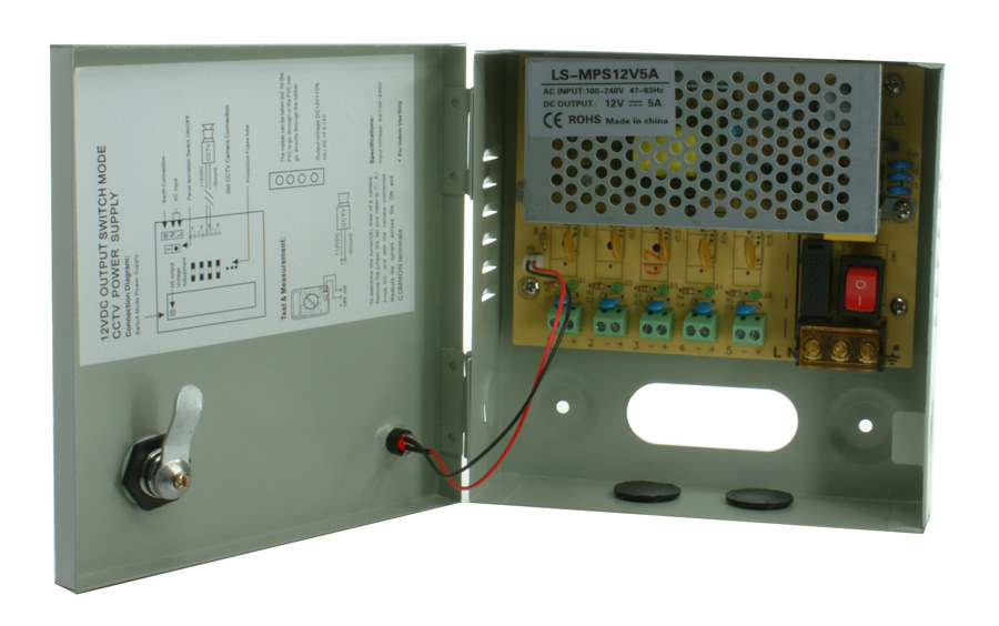 LONGSE Τροφοδοτικό Z-12V5A-5L, 220V/12V, 5 καμερών - UNBRANDED 15483