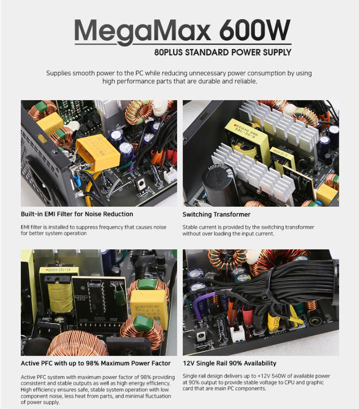 ZALMAN τροφοδοτικό MegaMax 600W ZM600-TXII, Active PFC, 80 plus - ZALMAN 31218