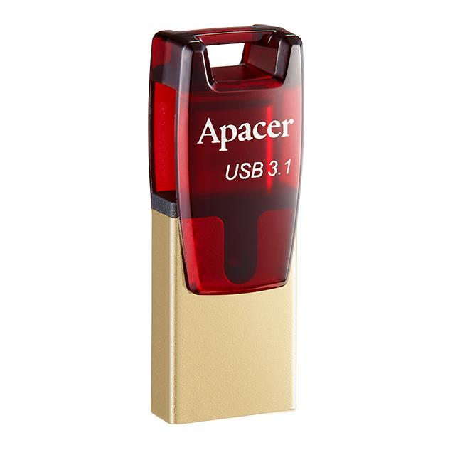 USB 3.1 Gen & Type-C Dual Flash Drive AH180 64GB Red RP - APACER DOM110149