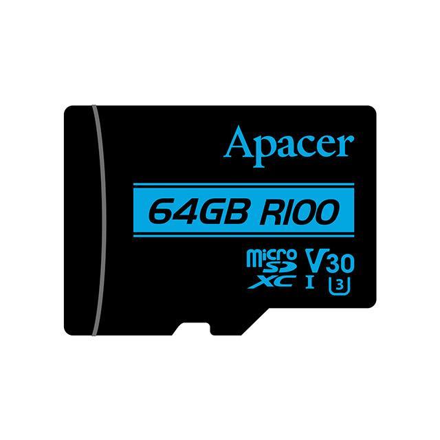 Memory Card Micro SDXC UHS-I U3 Class10 64GB Apacer V30 R100 - APACER DOM110154
