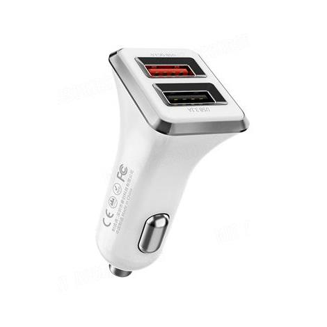 Car Charger WK Dual USB 3.1A & QC3.0 White WP-C19 - DOM250447
