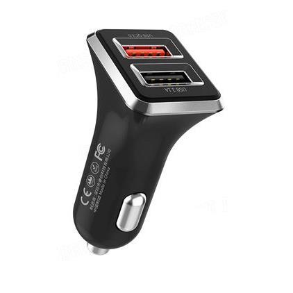 Car Charger WK Dual USB 3.1A & QC3.0 Black WP-C19 - DOM250448
