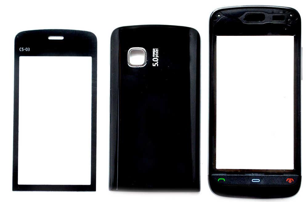 Πρόσοψη Nokia C5-03 με πληκτρολόγιο Μαύρη OEM