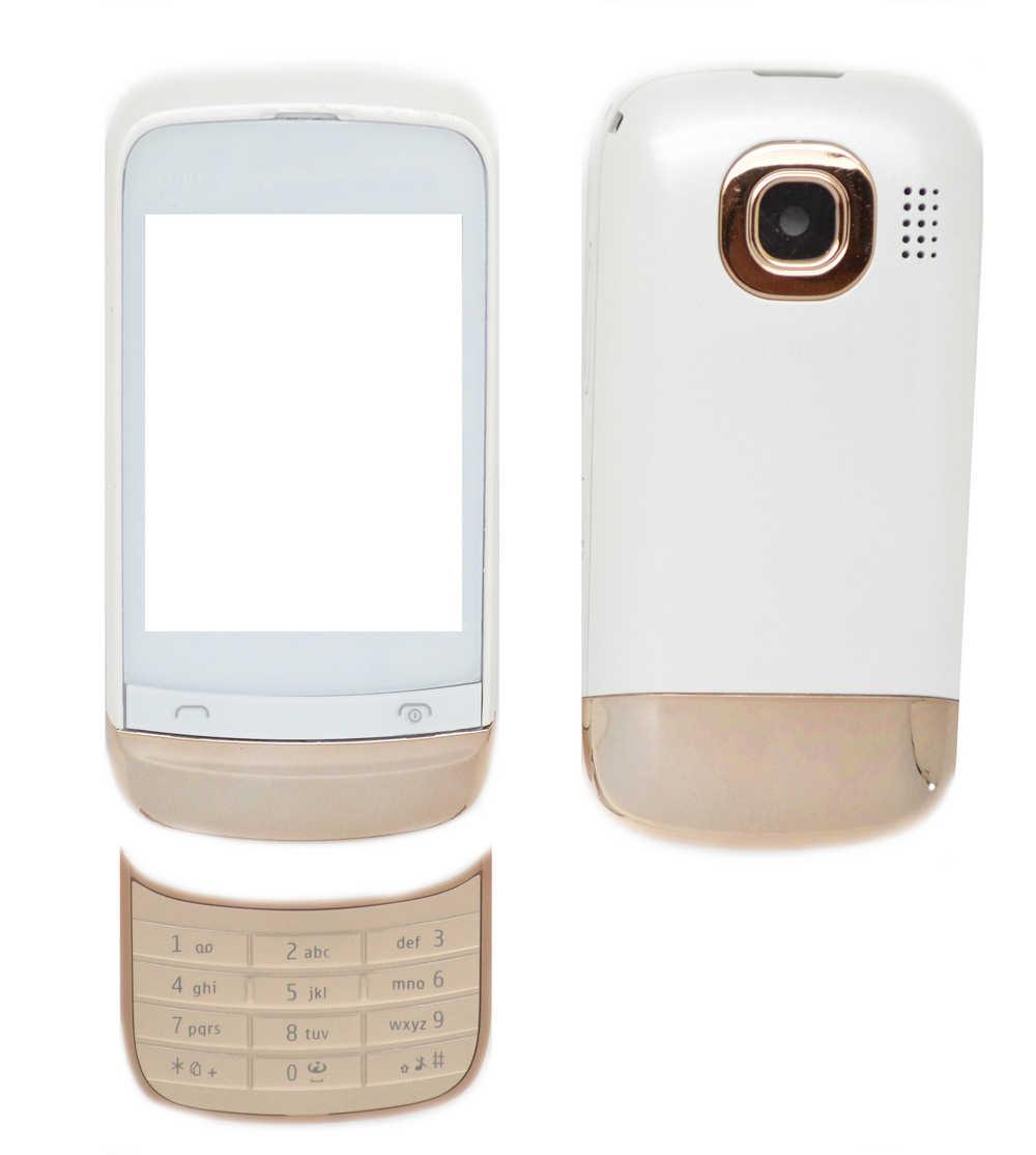 Πρόσοψη Nokia C2-03 με πληκτρολόγιο Λευκή OEM