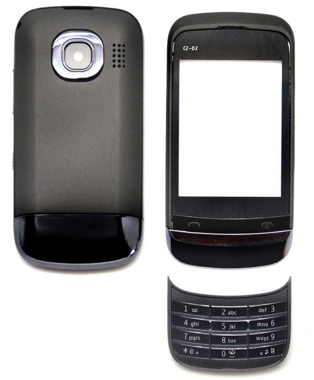 Πρόσοψη Nokia C2-02 με πληκτρολόγιο Μαύρη OEM