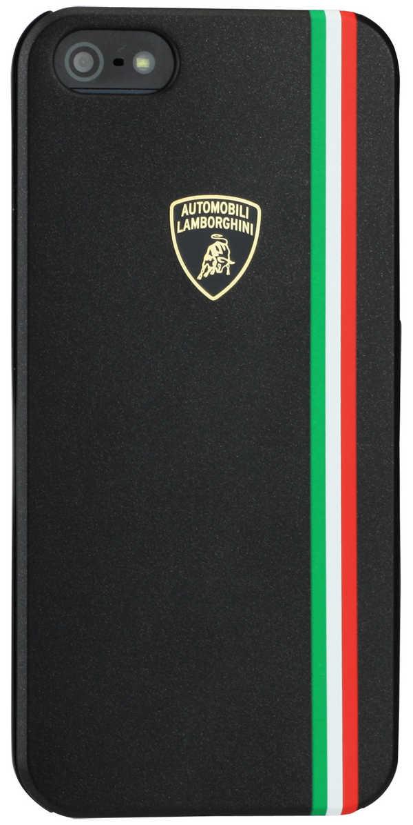 Θήκη Faceplate Lamborghini για Apple iPhone SE/5/5S Slim Μαύρη με αποσπώμενο μαύρο και λευκό μπροστινό μέρος Tricolor-D1