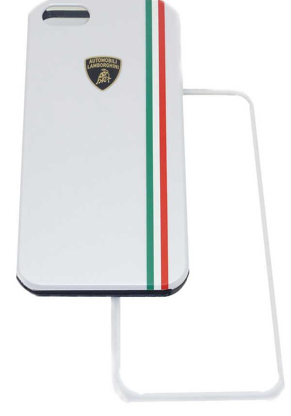 Θήκη Faceplate Lamborghini για Apple iPhone SE/5/5S Slim Λευκή με αποσπώμενο μαύρο και λευκό μπροστινό μέρος Tricolor-D1